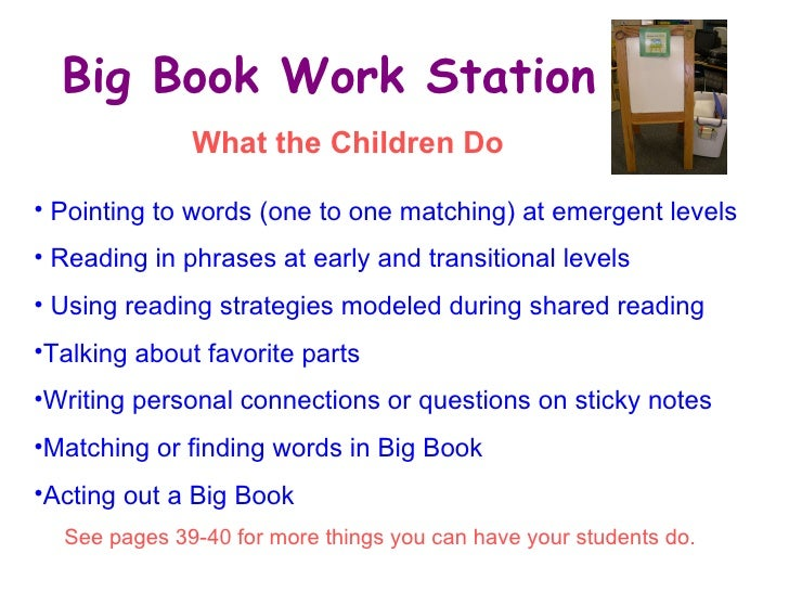 Big Book Work Station <ul><li>Pointing to words (one to one matching) at emergent levels </li></ul><ul><li>Reading in phra...