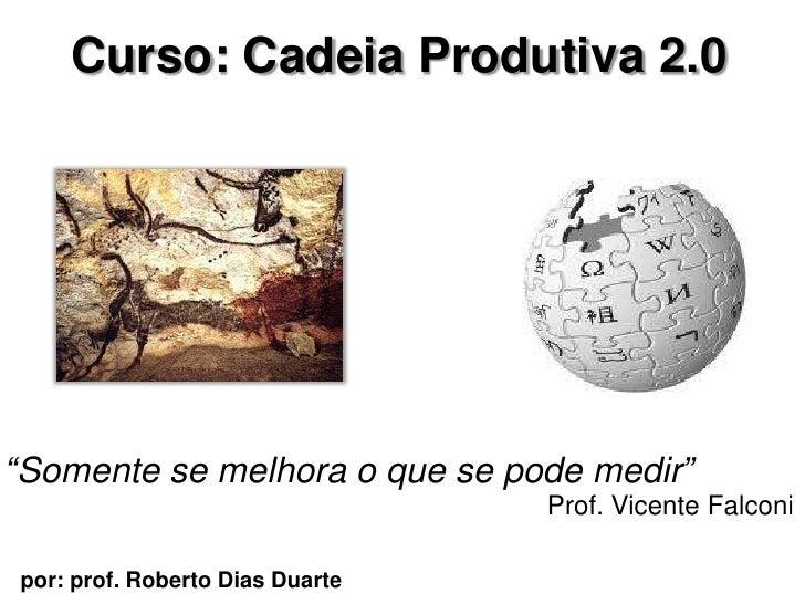 """Curso: Cadeia Produtiva 2.0     """"Somente se melhora o que se pode medir""""                                  Prof. Vicente Fa..."""