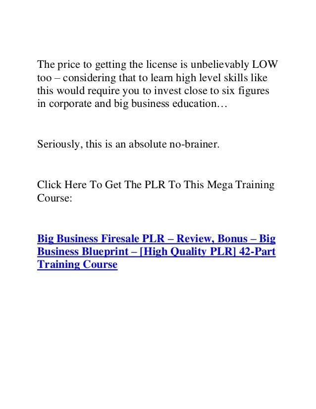 Big business firesale plr review bonus big business blueprint 5 malvernweather Choice Image