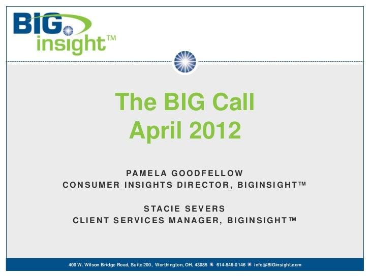 The BIG Call                    April 2012          PA M E L A G O O D F E L L O WCONSUMER INSIGHTS DIRECTOR, BIGINSIGHT™ ...