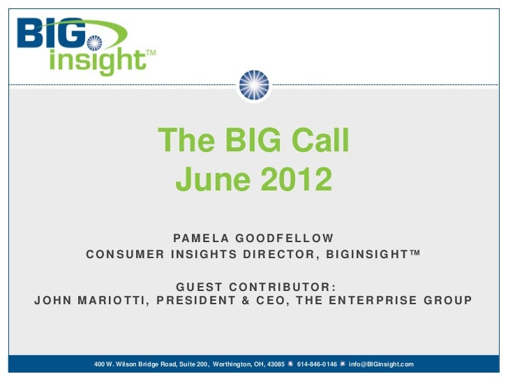 The BIG Call                           June 2012                PA M E L A G O O D F E L L O W      CONSUMER INSIGHTS DIRE...