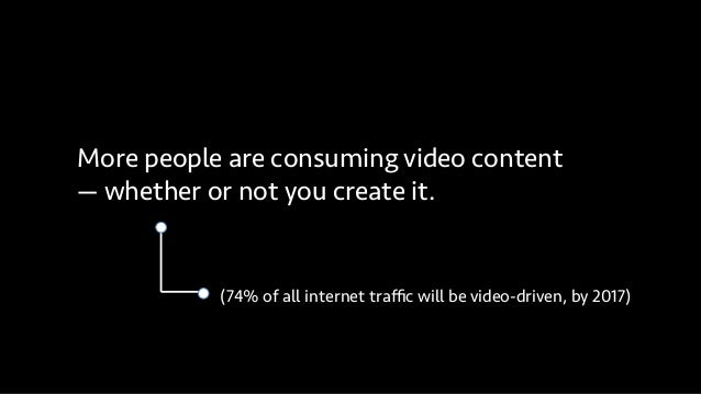More people are consuming video content — whether or not you create it. (74% of all internet traffic will be video-driven, b...