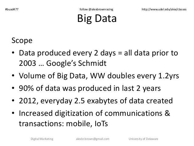 #buad477 follow @alexbrownracing http://www.udel.edu/alex/classes  Big Data  Scope  • Data produced every 2 days = all dat...