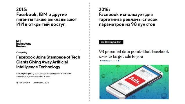 2015: Facebook, IBM и другие гиганты также выкладывают ИИ в открытый доступ 2016: Facebook использует для таргетинга рекла...
