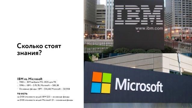 Сколько стоят знания? IBM vs. Microsoft • 1983 г.: IBM выбрала MS–DOS для ПК • 1996 г.: IBM — $70,7B, Microsoft — $85,5B •...