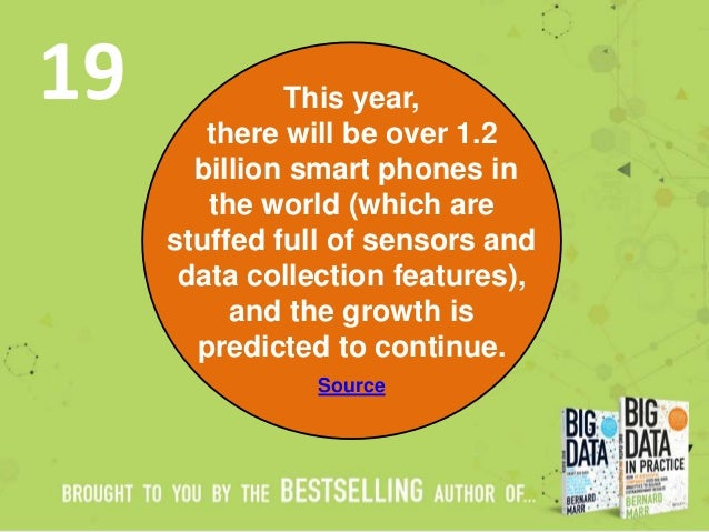 This year, there will be over 1.2 billion smart phones in the world (which are stuffed full of sensors and data collection...