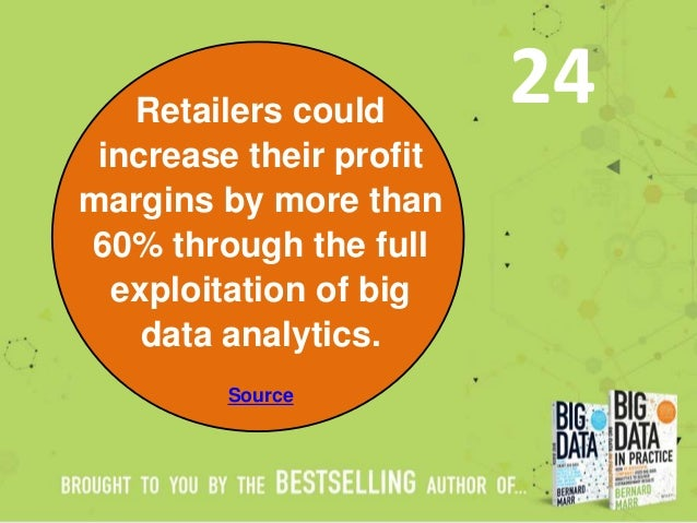 Retailers could increase their profit margins by more than 60% through the full exploitation of big data analytics. Source...