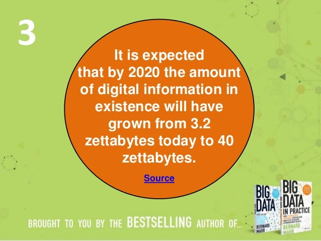 It is expected that by 2020 the amount of digital information in existence will have grown from 3.2 zettabytes today to 40...