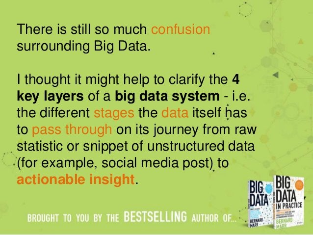 There is still so much confusion surrounding Big Data. I thought it might help to clarify the 4 key layers of a big data s...