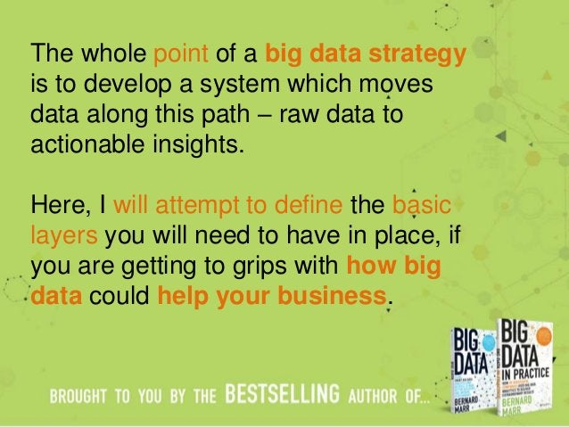 The whole point of a big data strategy is to develop a system which moves data along this path – raw data to actionable in...