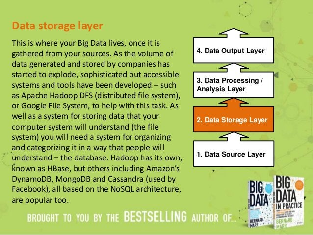 Data storage layer This is where your Big Data lives, once it is gathered from your sources. As the volume of data generat...