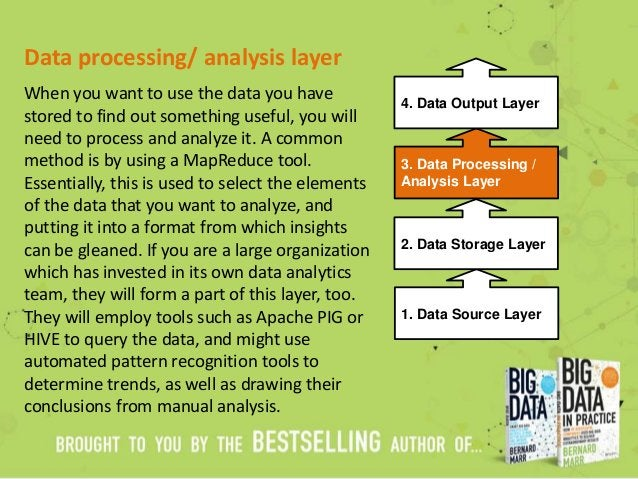Data processing/ analysis layer When you want to use the data you have stored to find out something useful, you will need ...