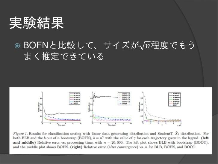 実験結果   BOFNと比較して、サイズが 𝑛程度でもう    まく推定できている