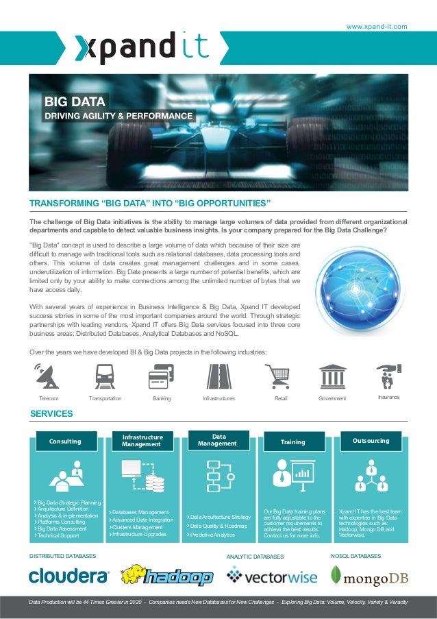 """BANNER  TRANSFORMING """"BIG DATA"""" INTO """"BIG OPPORTUNITIES"""" The challenge of Big Data initiatives is the ability to manage la..."""