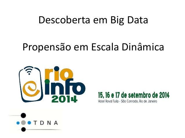 Descoberta em Big Data  Propensão em Escala Dinâmica