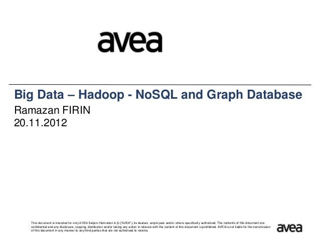 Big Data – Hadoop - NoSQL and Graph DatabaseRamazan FIRIN20.11.2012  This document is intended for only AVEA İletişim Hizm...