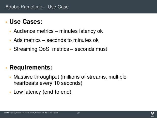 Adobe Primetime – Use Case      Use Cases:            Audience metrics – minutes latency ok            Ads metrics – se...