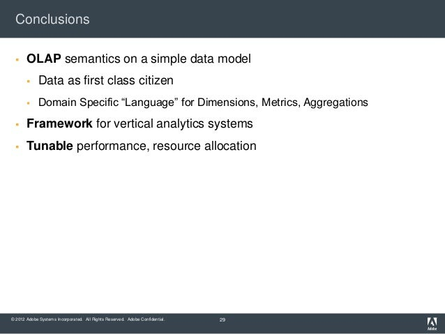 Conclusions      OLAP semantics on a simple data model            Data as first class citizen            Domain Specifi...