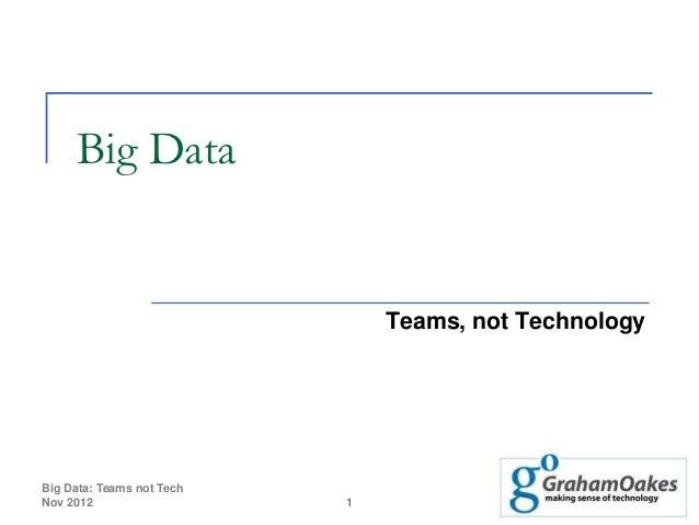 Big Data                               Teams, not TechnologyBig Data: Teams not TechNov 2012                   1