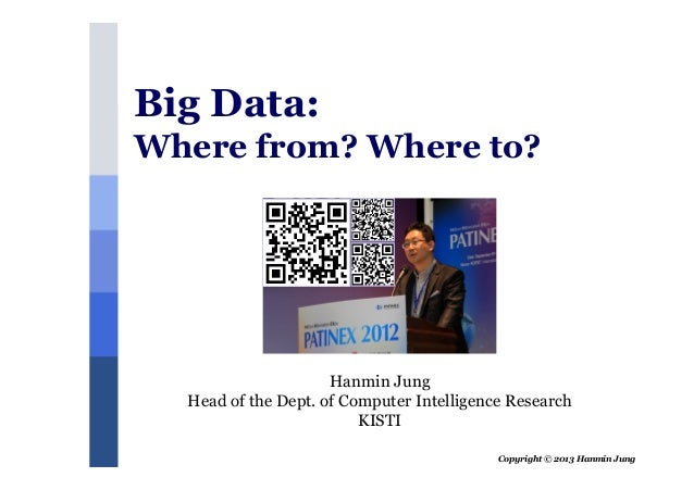 Copyright © 2013 Hanmin JungHanmin JungHead of the Dept. of Computer Intelligence ResearchKISTIBig Data:Where from? Where ...