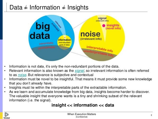 Data = Information = Insights•   Information is not data, it's only the non-redundant portions of the data.•   Relevant in...