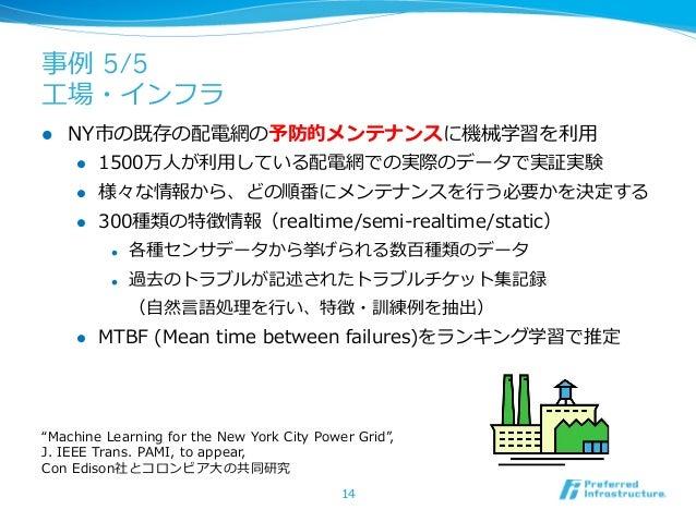 事例例 5/5⼯工場・インフラl   NY市の既存の配電網の予防的メンテナンスに機械学習を利利⽤用       l 1500万⼈人が利利⽤用している配電網での実際のデータで実証実験       l 様々な情報から、どの順番にメンテナ...