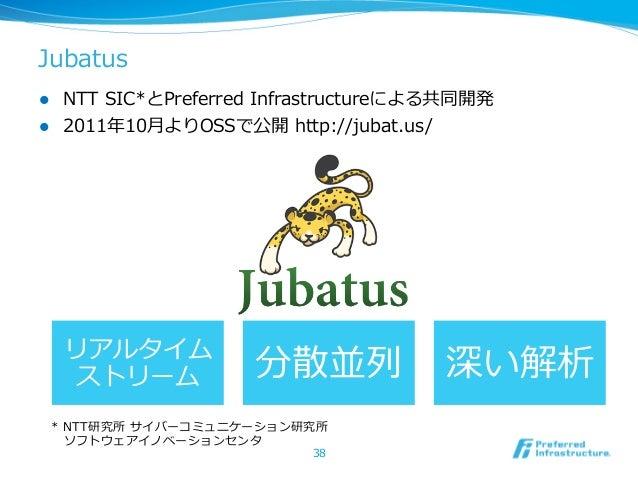 Jubatusl NTT SIC*とPreferred Infrastructureによる共同開発l 2011年年10⽉月よりOSSで公開 http://jubat.us/      リアルタイム        ストリーム   ...