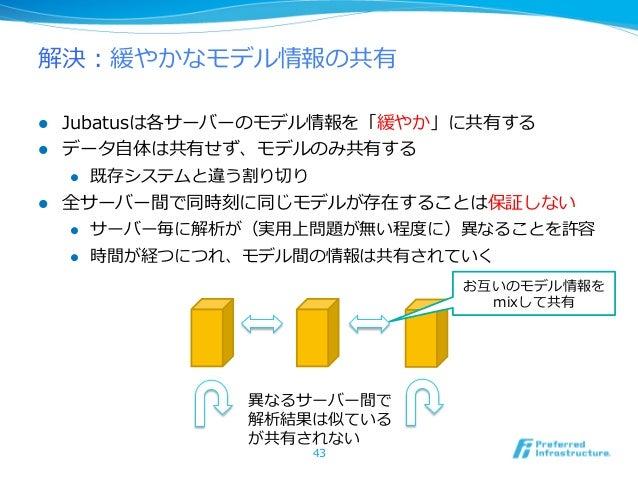 解決:緩やかなモデル情報の共有l Jubatusは各サーバーのモデル情報を「緩やか」に共有するl データ⾃自体は共有せず、モデルのみ共有する     l 既存システムと違う割り切切りl 全サーバー間で同時刻に同じモデルが存在する...
