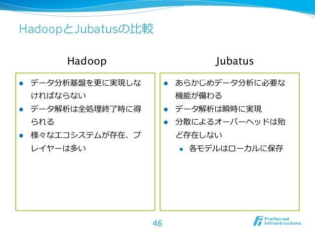HadoopとJubatusの⽐比較            Hadoop                         Jubatusl   データ分析基盤を更更に実現しな         l   あらかじめデータ分析に必要な  ...