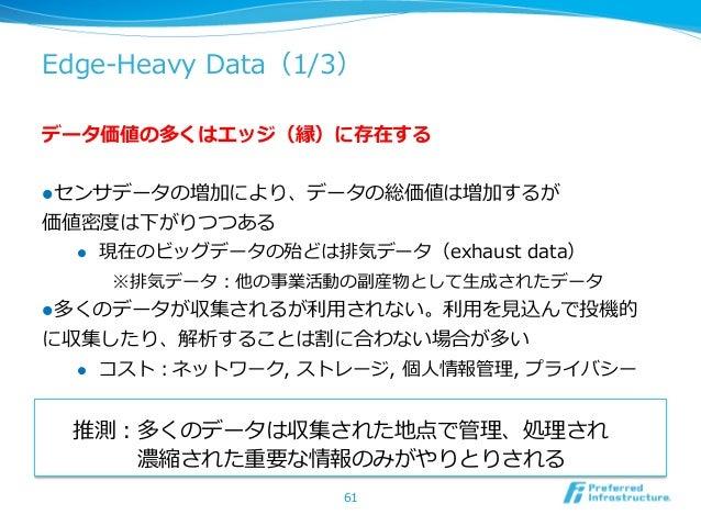 Edge-‐‑‒Heavy Data(1/3)データ価値の多くはエッジ(縁)に存在するlセンサデータの増加により、データの総価値は増加するが価値密度度は下がりつつある  l 現在のビッグデータの殆どは排気データ(exhaust da...