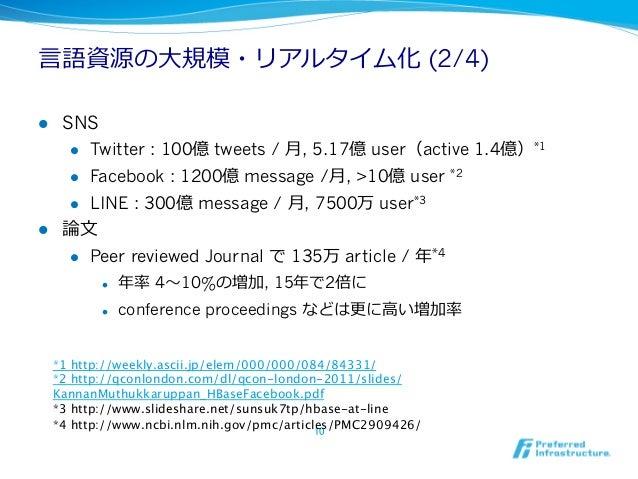 ⾔言語資源の⼤大規模・リアルタイム化 (2/4)l SNS     l Twitter : 100億 tweets / ⽉月, 5.17億 user(active 1.4億)*1     l Facebook : 1200億 mes...