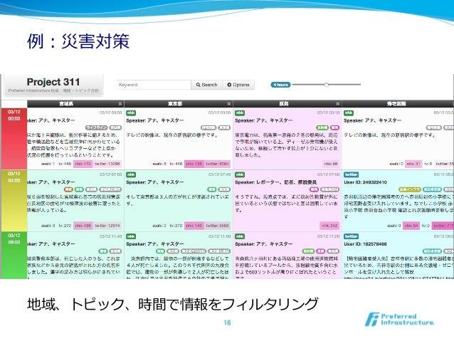 例例:災害対策地域、トピック、時間で情報をフィルタリング              16