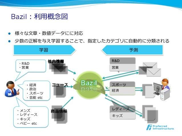Bazil:利利⽤用概念念図l   様々な⽂文章・数値データにに対応l   少数の正解を与え学習することで、指定したカテゴリに⾃自動的に分類される                  学習                 予測      ...