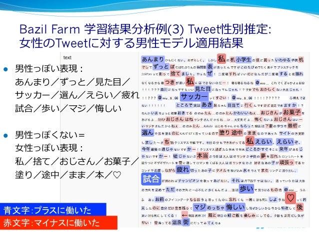 Bazil Farm 学習結果分析例例(3) Tweet性別推定:      ⼥女女性のTweetに対する男性モデル適⽤用結果l   男性っぽい表現:      あんまり/ずっと/⾒見見た⽬目/      サッカー/選ん/えらい/疲れ   ...