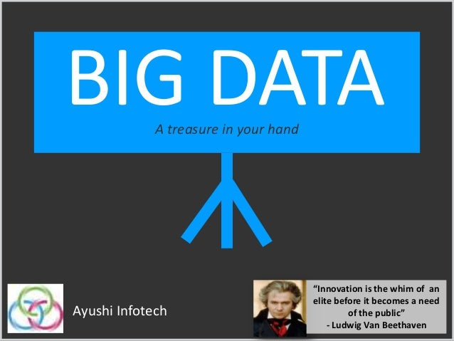 """BIG DATAA treasure in your hand Ayushi Infotech """"Innovation is the whim of an elite before it becomes a need of the public..."""