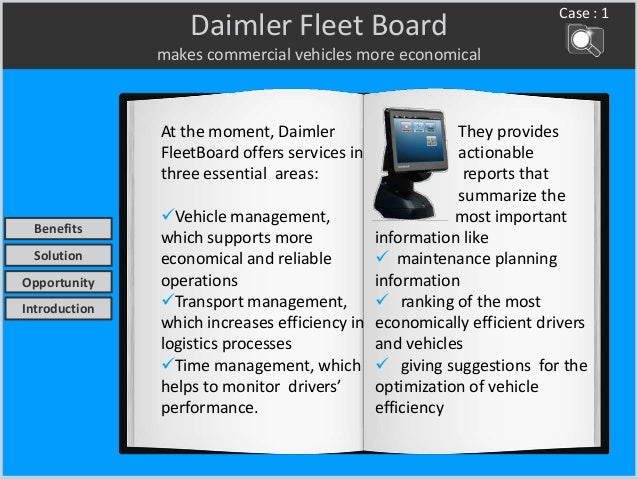 Daimler Fleet Board makes commercial vehicles more economical At the moment, Daimler FleetBoard offers services in three e...