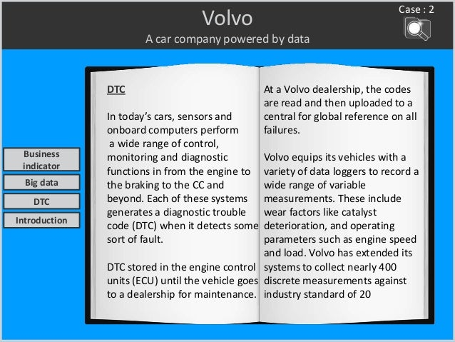 Volvo A car company powered by data DTC In today's cars, sensors and onboard computers perform a wide range of control, mo...