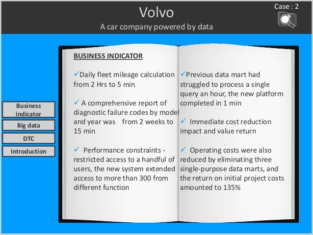Volvo A car company powered by data BUSINESS INDICATOR Daily fleet mileage calculation from 2 Hrs to 5 min  A comprehens...