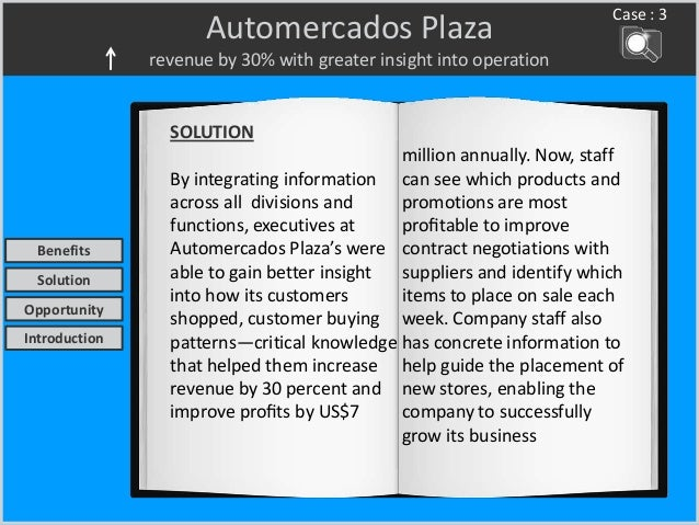 Automercados Plaza revenue by 30% with greater insight into operation Case : 3 SOLUTION By integrating information across ...