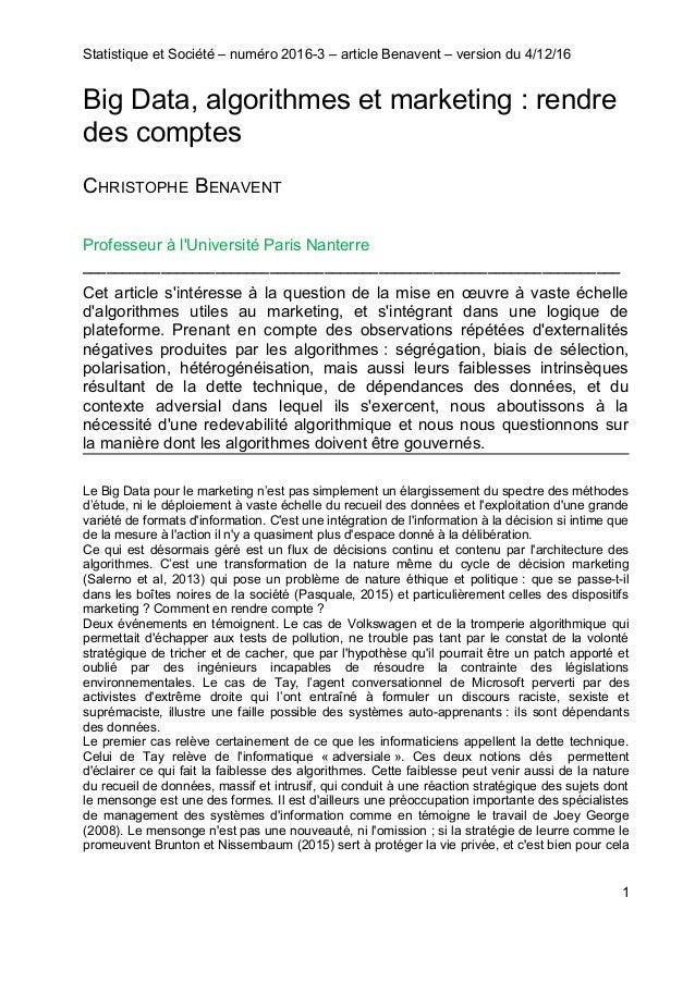 Statistique et Société – numéro 2016-3 – article Benavent – version du 4/12/16 Big Data, algorithmes et marketing : rendre...