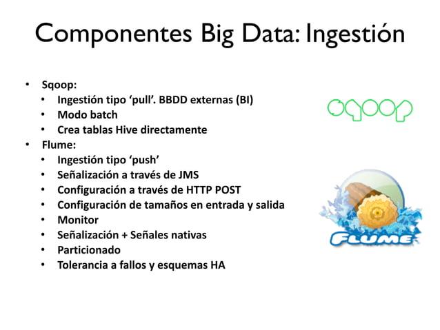 4.La plataforma Big Data: Componentes.Ingestión. • Sqoop:   • Ingestión  tipo  'pull'.  BBDD  externas  (BI) ...