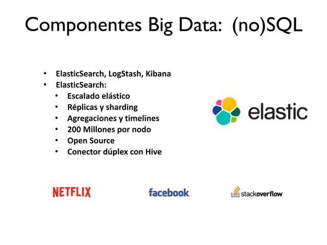 • ElasticSearch,  LogStash,  Kibana   • ElasticSearch:   • Escalado  elástico   • Réplicas  y  sharding  ...