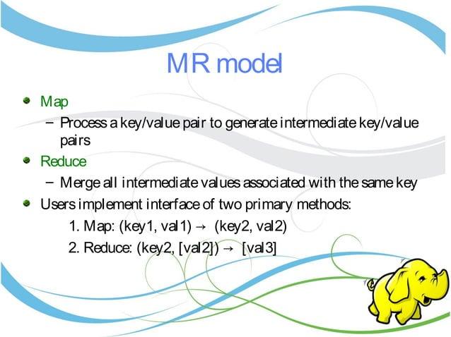 MR model Map – Processakey/valuepair to generateintermediatekey/value pairs Reduce – Mergeall intermediatevaluesassociated...