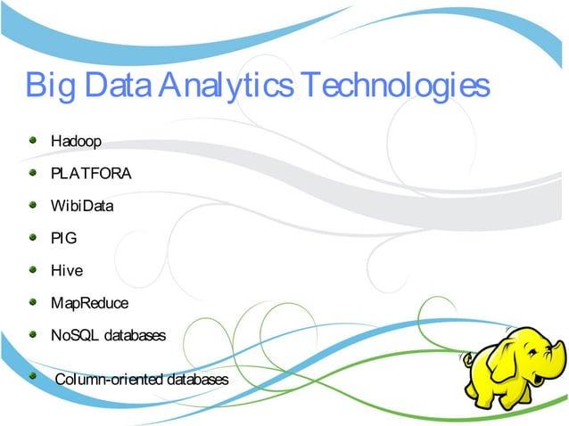 Big DataAnalyticsTechnologies Hadoop PLATFORA WibiData PIG Hive MapReduce NoSQL databases Column-oriented databases