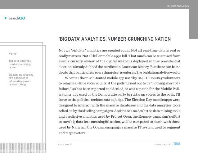 BIG DATA ANALYTICS  'BIG DATA' ANALYTICS, NUMBER-CRUNCHING NATION Home 'Big data' analytics, number-crunching nation Big d...