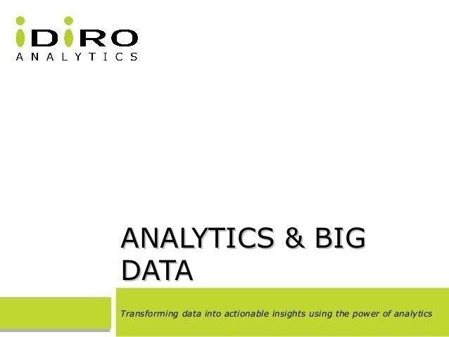 ANALYTICS & BIGANALYTICS & BIG DATADATA Transforming data into actionable insights using the power of analytics