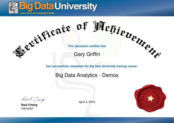 Big Data Analytics Demo Certificate