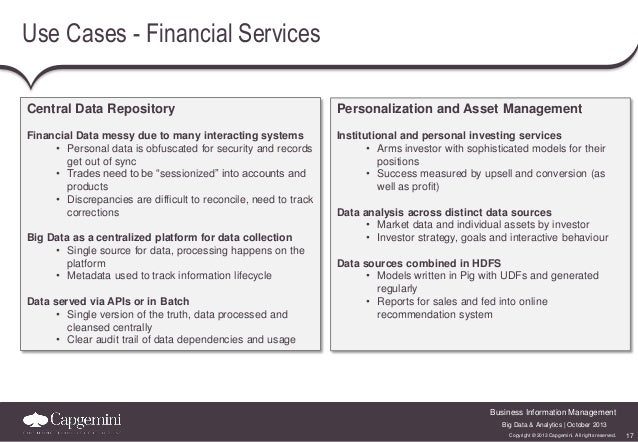Use Cases - Financial Services Central Data Repository  Personalization and Asset Management  Financial Data messy due to ...