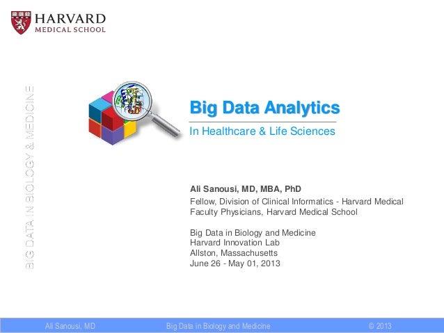 Ali Sanousi, MD © 2013 BIGDATAINBIOLOGY&MEDICINE Big Data in Biology and Medicine Big Data Analytics In Healthcare & Life ...