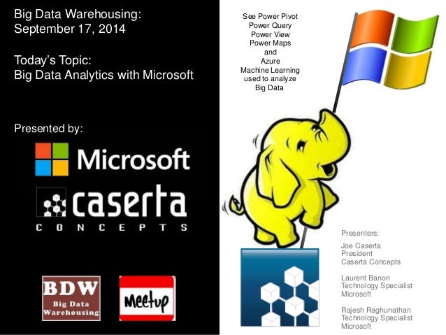 See Power Pivot  Power Query  Power View  Power Maps  and  Azure  Machine Learning  used to analyze  Big Data  Presenters:...